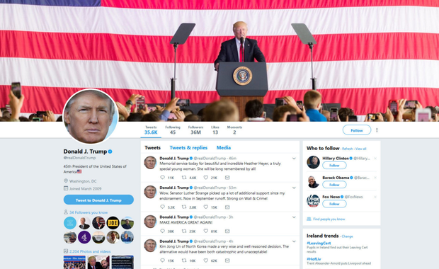 US President Donald Trump's official Twitter page