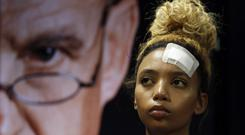 Gabriella Engels looks on during a media conference in Pretoria, South Africa (Themba Hadebe/AP)