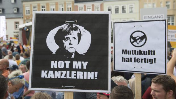 Protesters at the Marktplatz in Annaberg-Buchholz, eastern Germany (AP)