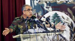 Brigadier General Ali Qanso at the Defence Ministry as the Lebanese army launched operations against Islamic State (AP/Bilal Hussein)