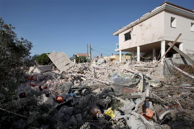 The remains of the house in Alcanar where the Isil cell was preparing a bomb