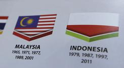 Indonesia's national flag, printed upside down, in the guidebook for the South East Asian Games in Kuala Lumpur, Malaysia (AP Photo/Yau)