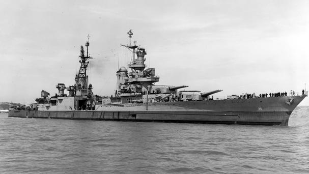 USS Indianapolis pictured on July 10 1945, as researchers have located the wreck of the heavy cruiser (US Navy via AP)
