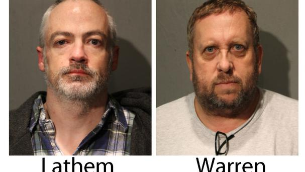 Booking photos provided by the Chicago Police Department showing Wyndham Lathem, left, and Andrew Warren who have been charged with murder (Chicago Police Department via AP)