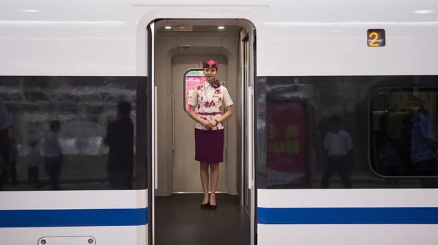 Crew on a high speed bullet train in China