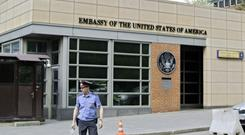 The US embassy's move came in response to the Russian decision to cap staff (AP)