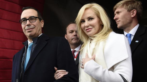 Stephen Mnuchin and Louise Linton at the presidential inauguration of Donald Trump (AP)