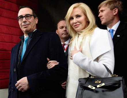 Stephen Mnuchin and his wife Louise Linton. Photo: Saul Loeb