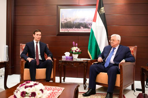 White House adviser Jared Kushner meets with Palestinian President Mahmoud Abbas in Ramallah yesterday. Photo: Getty Images