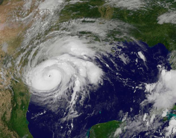 This satellite image of Hurricane Harvey shows the storm's eye as it nears landfall on the south-east coast of Texas yesterday. Photo: AFP/Getty