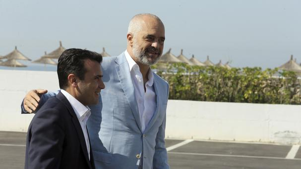 Albanian Prime Minister Edi Rama, right, welcomes his Macedonian counterpart Zoran Zaev (AP/Hektor Pustina)