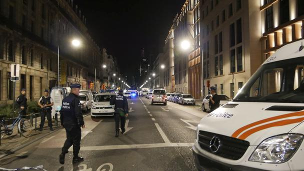 Police secure the scene of the attack in central Brussels (AP/Sylvain Plazy)