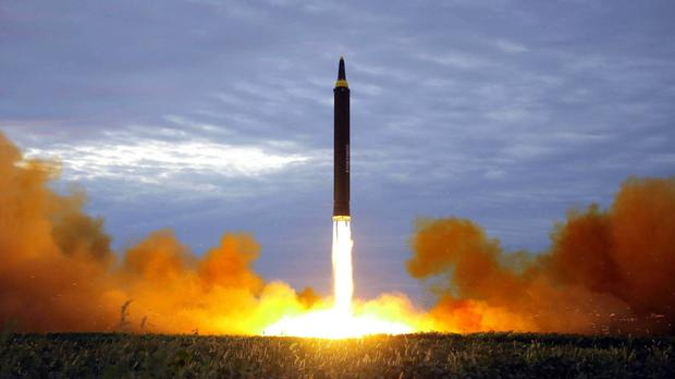 The test launch of a Hwasong-12 intermediate range missile in Pyongyang, according to the North Korean government (Korean Central News Agency/Korea News Service via AP)
