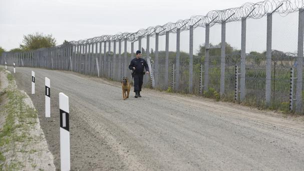 A police officer patrols the border fence on the Hungarian-Serbian border (Zoltan Gergely Kelemen/MTI via AP)