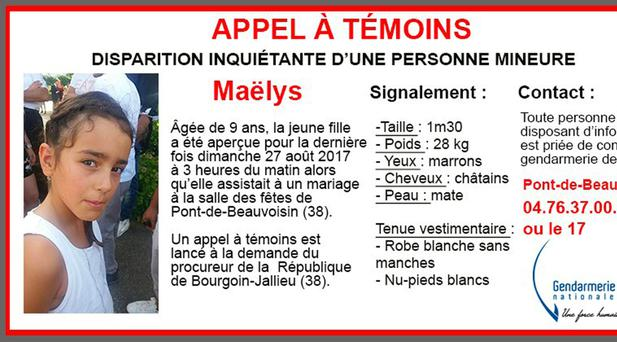 The girl went missing at the weekend (Gendarmerie Nationale via AP)