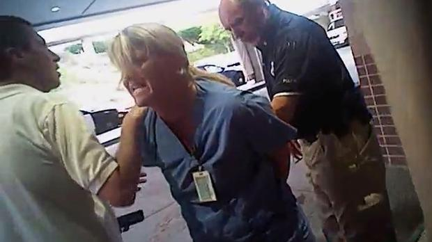 Video from a police body camera shows nurse Alex Wubbels being arrested by a Salt Lake City police officer at University Hospital (Salt Lake City Police Department/Courtesy of Karra Porter via AP)