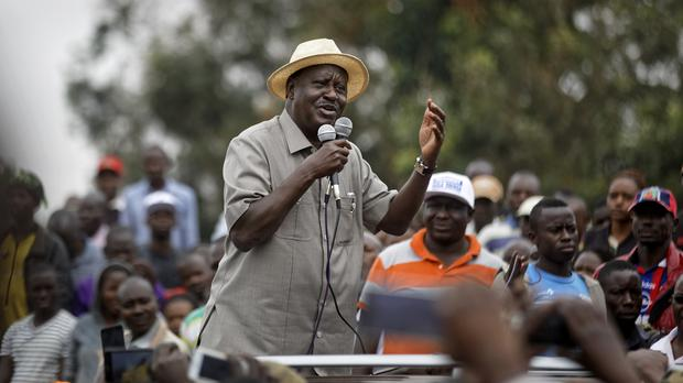 Kenyan opposition leader Raila Odinga addresses a crowd of supporters in Nairobi (AP Photo/Ben Curtis)