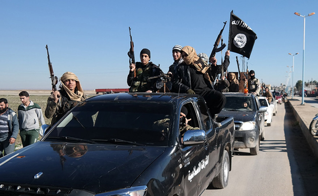 WHAT WOULD YOU DO: An Isil convoy of sectarian killers pictured earlier in the Syrian War