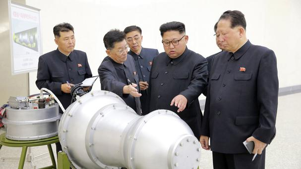 North Korean leader Kim Jong Un at an undisclosed location as state media said he he inspected the loading of a hydrogen bomb into a new ICBM (Korean Central News Agency/Korea News Service via AP)