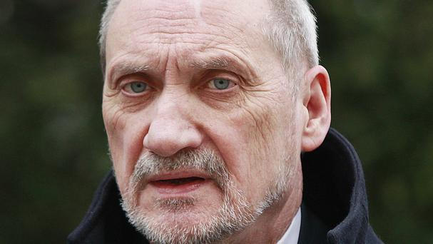 Antoni Macierewicz made his remarks during a visit to Sulejow, a small town in central Poland (AP)