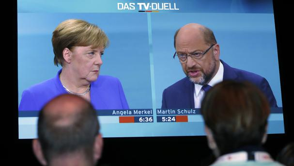 The comments followed a live televised debate of German chancellor Angela Merkel and Social Democrat Party chairman and challenger Martin Schulz (AP)