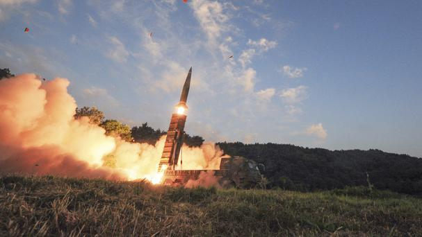 An Hyunmoo II ballistic missile is fired during an exercise in South Korea, (South Korea Defence Ministry/AP)