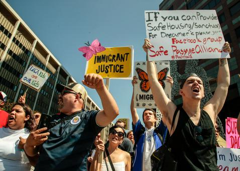 Protesters take to the streets in Los Angeles Photo: AP