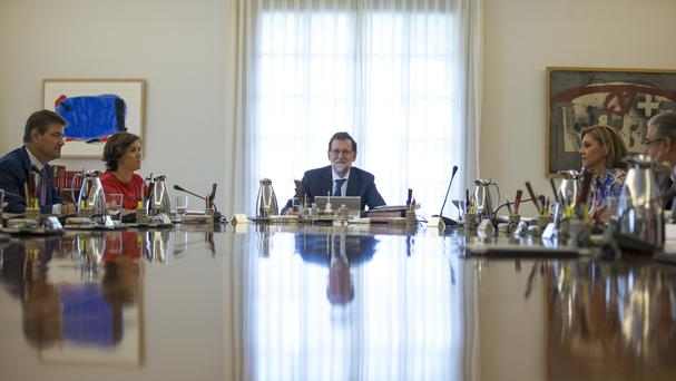 Mariano Rajoy chairs an urgent cabinet meeting in Madrid (AP)
