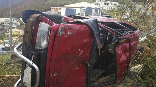 A damaged vehicle in Tortola, in the British Virgin Islands (Jalon Manson Shortte via AP)