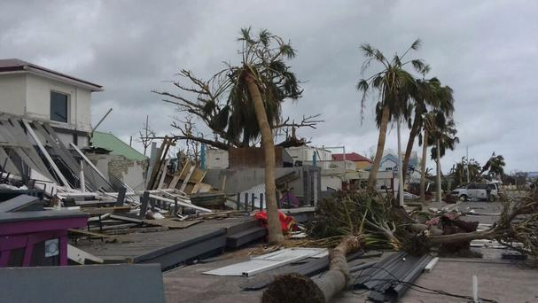 Damaged buildings and fallen trees on the island of St Martin. (AP)