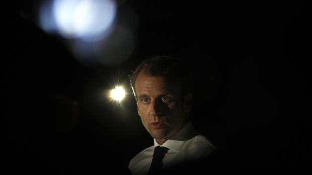 France's president Emmanuel Macron delivers a speech during a press conference during his visit in the French Caribbean island of St Martin