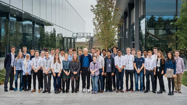 Sir James Dyson with the firm's university students