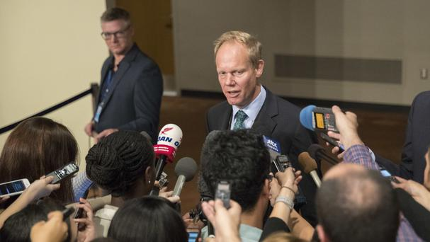 The British ambassador to the United Nations Matthew Rycroft speaks to reporters before the Security Council meeting (AP/Mary Altaffer)