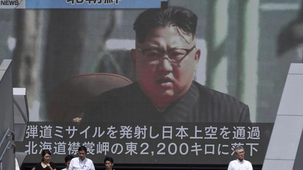 North Korea has fired an intermediate-range missile over Japan into the northern Pacific Ocean, its longest-ever such flight (AP)