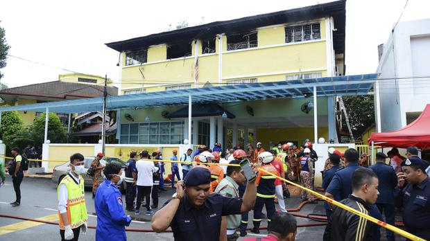 Police and emergency services at an Islamic religious school in Malaysia