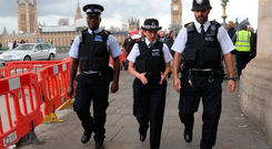 On patrol: Metropolitan Police Commissioner Cressida Dick (centre) joins officers on Westminster Bridge in central London, as Operation Temperer is relaunched after security experts warned another terrorist attack could be imminent. Photo: PA Wire