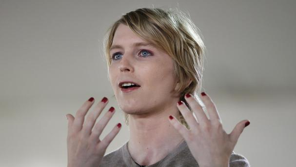 Chelsea Manning addresses an audience in Nantucket