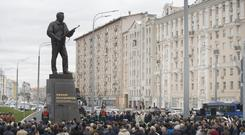 A new monument to Russian firearm designer Mikhail Kalashnikov is unveiled during an official ceremony in Moscow, Russia (AP)