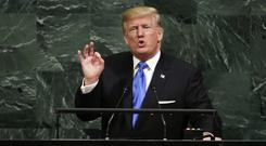 President Donald Trump addresses the UN in New York