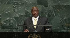 The President of Uganda, Yoweri Museveni addresses the United Nations general assembly (AP)
