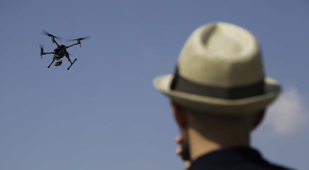 A drone during a demonstration at the British police station inside the British military base in Dhekelia in southeast of the island of Cyprus (AP)