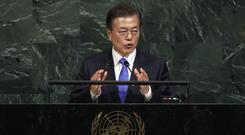 President Moon Jae-in of South Korea addresses the United Nations general assembly (AP)