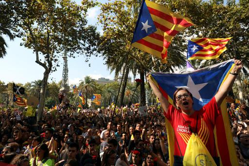 Protesters in Barcelona. Photo: Reuters