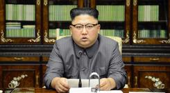 North Korean leader Kim Jong Un delivers a statement in response to Donald Trump's speech to the United Nations (Korean Central News Agency/Korea News Service via AP)