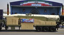 Iran's Khoramshahr missile is displayed by the Revolutionary Guard during a military parade in Tehran (AP)