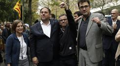 Four key Catalan officials are released at the courthouse in Barcelona (AP)