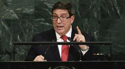 Cuba's foreign minister Bruno Rodrguez Parrilla addresses the United Nations General Assembly (AP)