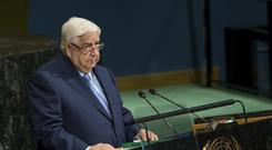Syrian deputy prime minister and minister for foreign affairs Walid al-Moallem addresses the UN General Assembly (AP/Craig Ruttle)