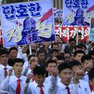 Hundreds of thousands of North Koreans gather at Kim Il Sung Square to attend a mass rally against America (AP/Jon Chol Jin)