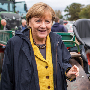 Campaigning: German chancellor Angela Merkel arrives at the harvest festival in Lauterbach, Germany, on the Baltic Sea island of Ruegen yesterday ahead of the German Federal elections today. Photo: Jens Buettner/AP
